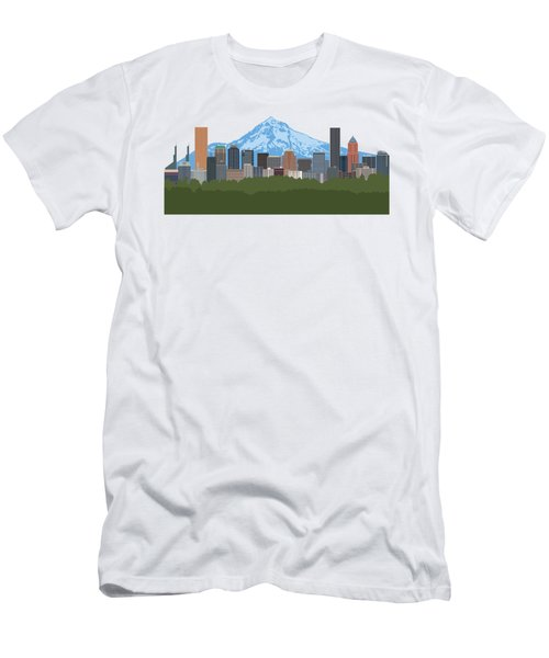 Portland Oregon Skyline Color Illustration Men's T-Shirt (Athletic Fit)