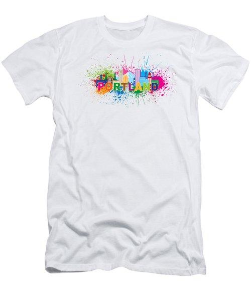 Portland Oregon Skyline Paint Splatter Text Illustration Men's T-Shirt (Athletic Fit)