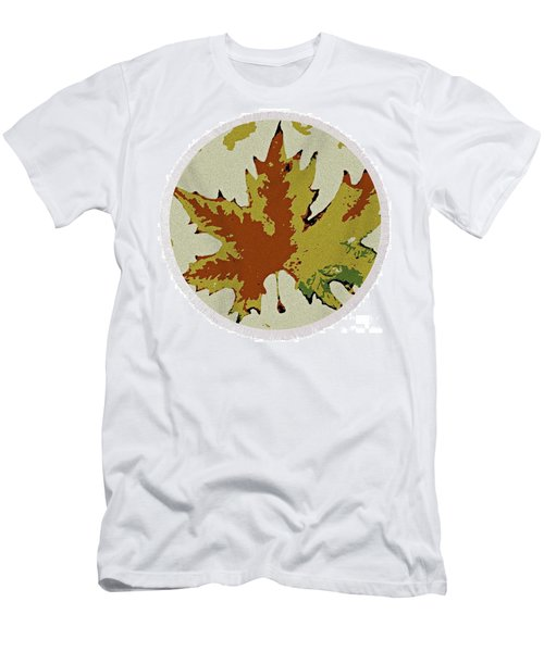 Posterised Autumn Leaf - Round Beach Towel Men's T-Shirt (Athletic Fit)