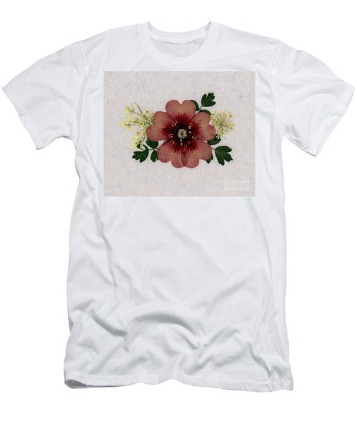 Potentilla And Queen-ann's-lace Pressed Flower Arrangement Men's T-Shirt (Athletic Fit)