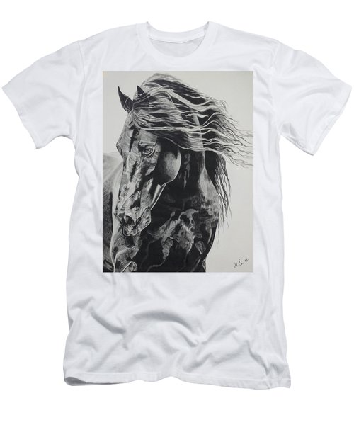 Men's T-Shirt (Slim Fit) featuring the drawing Power Of Horse by Melita Safran