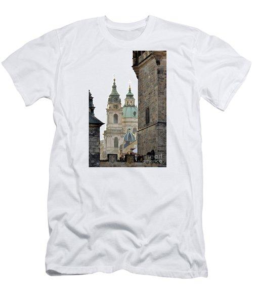 Men's T-Shirt (Slim Fit) featuring the digital art Prague-architecture 3 by Leo Symon