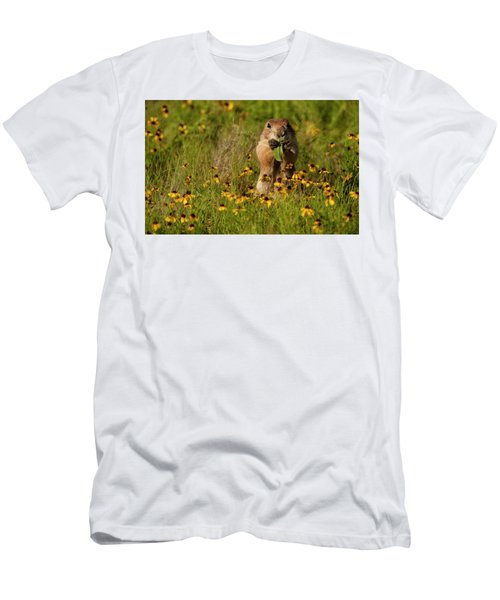 Prairie Dog In Flowers Men's T-Shirt (Athletic Fit)