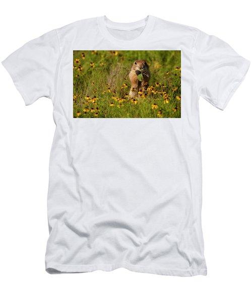 Prairie Dog In Flowers Men's T-Shirt (Athletic Fit)