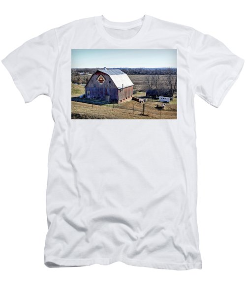 Men's T-Shirt (Slim Fit) featuring the photograph Prairie Flower Quilt Barn by Cricket Hackmann