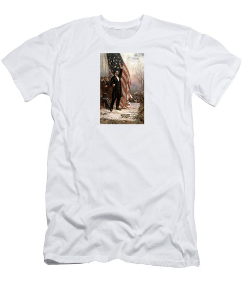 President Abraham Lincoln Giving A Speech Men's T-Shirt (Slim Fit) by War Is Hell Store
