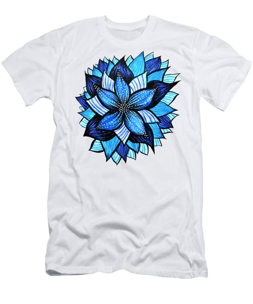 Pretty Abstract Blue Mandala Like Flower Drawing Men's T-Shirt (Athletic Fit)