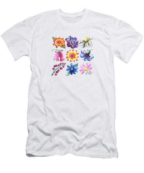 Pretty Flowers All In A Row Men's T-Shirt (Athletic Fit)