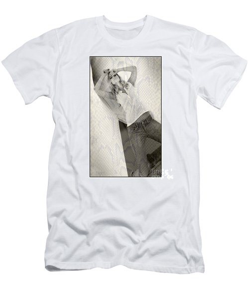 Pretty Girl On Her Knees Men's T-Shirt (Slim Fit) by Michael Edwards