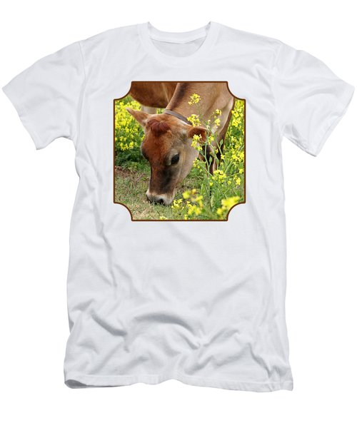 Pretty Jersey Cow Square Men's T-Shirt (Slim Fit) by Gill Billington