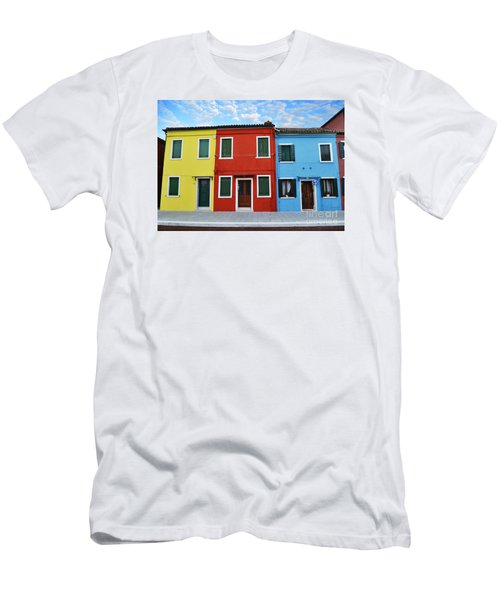 Primary Colors Too Burano Italy Men's T-Shirt (Slim Fit) by Rebecca Margraf