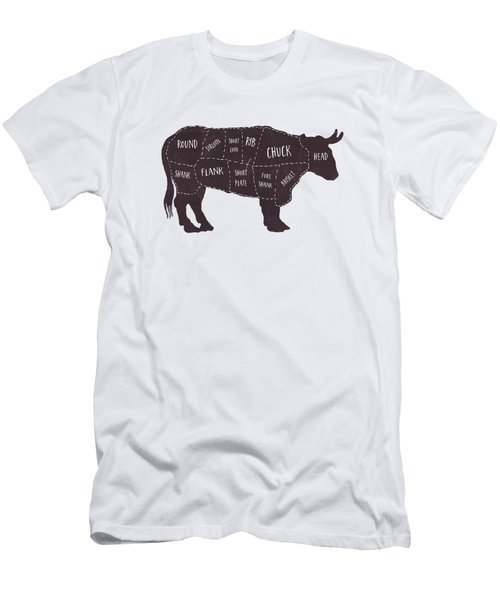 Primitive Butcher Shop Beef Cuts Chart T-shirt Men's T-Shirt (Slim Fit) by Edward Fielding