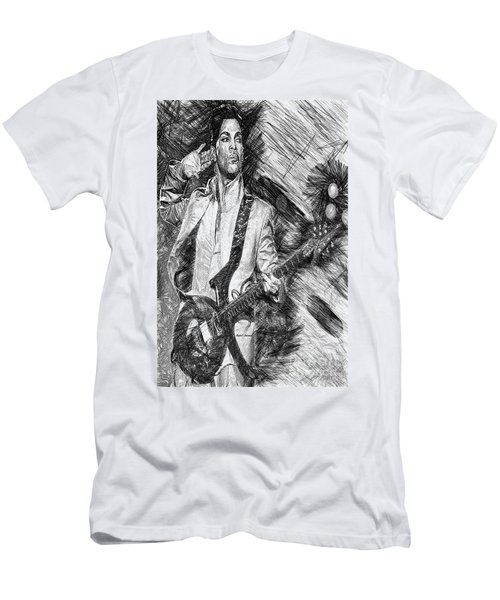 Prince - Tribute With Guitar In Black And White Men's T-Shirt (Athletic Fit)