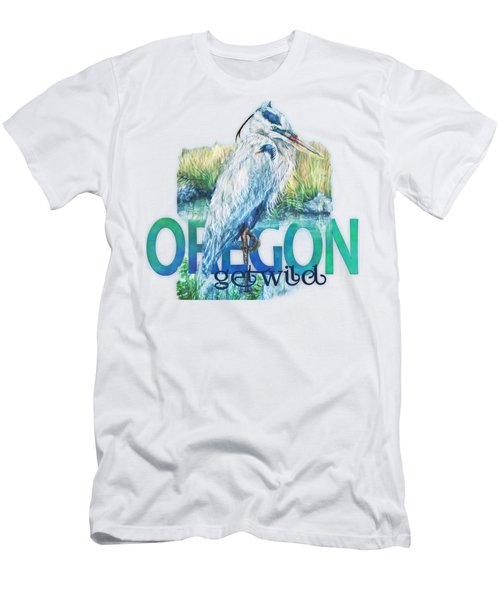 Puddletown Great Blue Heron Men's T-Shirt (Slim Fit) by Kara Skye