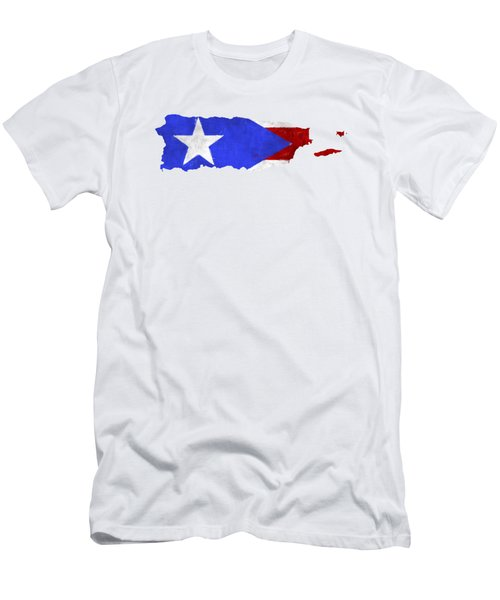 Puerto Rico Map Art With Flag Design Men's T-Shirt (Athletic Fit)