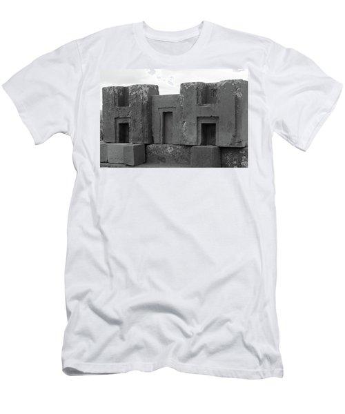 Men's T-Shirt (Athletic Fit) featuring the photograph Puma Punku H Blocks, Bolivia by Aidan Moran