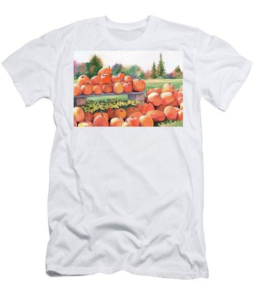 Men's T-Shirt (Slim Fit) featuring the painting Pumpkins For Sale by Vikki Bouffard