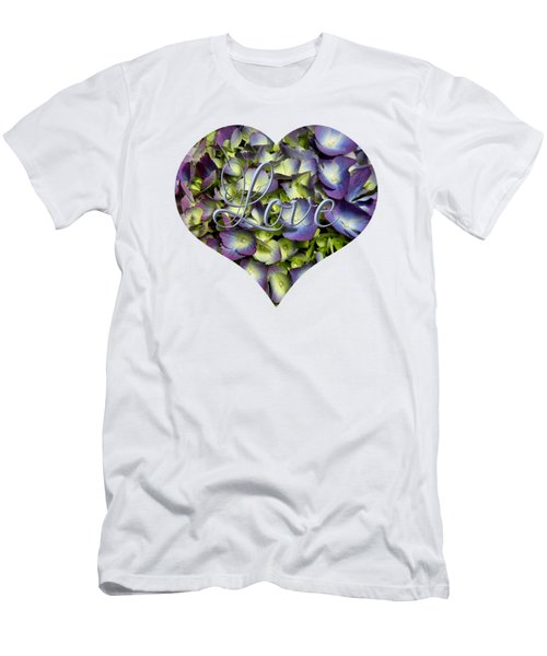Purple And Cream Hydrangea Flowers Heart With Love Men's T-Shirt (Athletic Fit)
