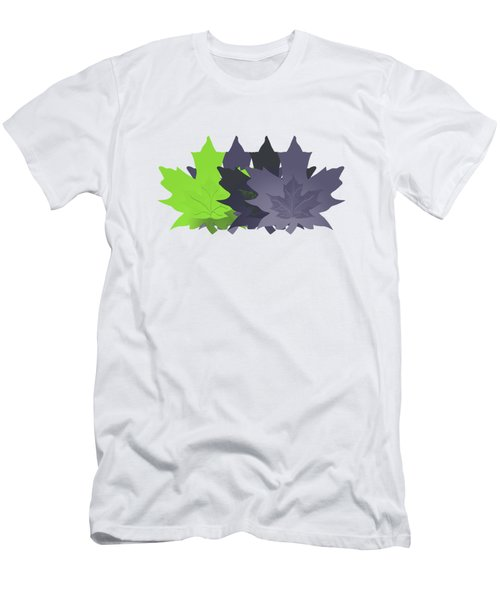 Men's T-Shirt (Slim Fit) featuring the digital art Purple And Green Leaves by Methune Hively