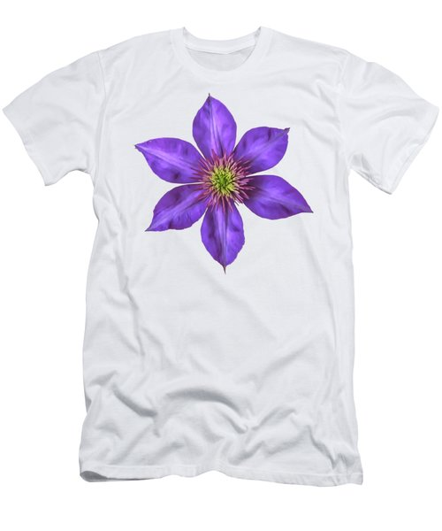 Purple Clematis Flower With Soft Look Effect Men's T-Shirt (Slim Fit) by Rose Santuci-Sofranko