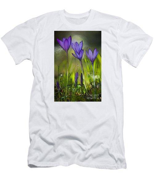 Men's T-Shirt (Slim Fit) featuring the photograph Purple Crocus Flowers by Jean Bernard Roussilhe