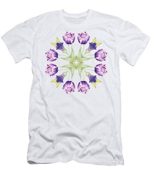 Purple Tulip Mandala Men's T-Shirt (Athletic Fit)