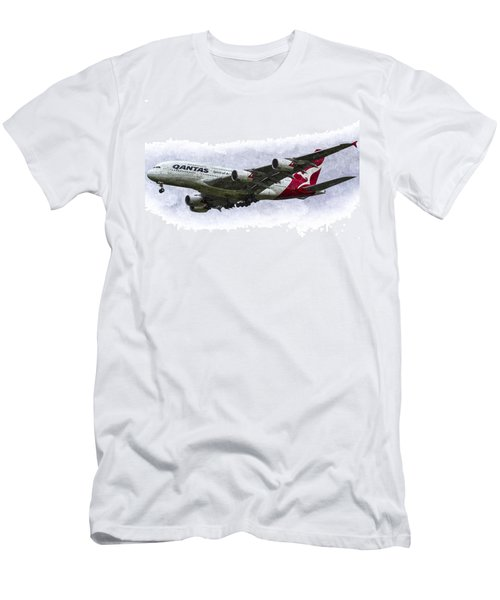 Qantas Airbus A380 Art Men's T-Shirt (Athletic Fit)