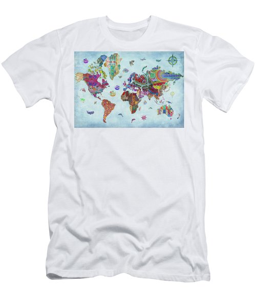 Quilted World Map Men's T-Shirt (Athletic Fit)