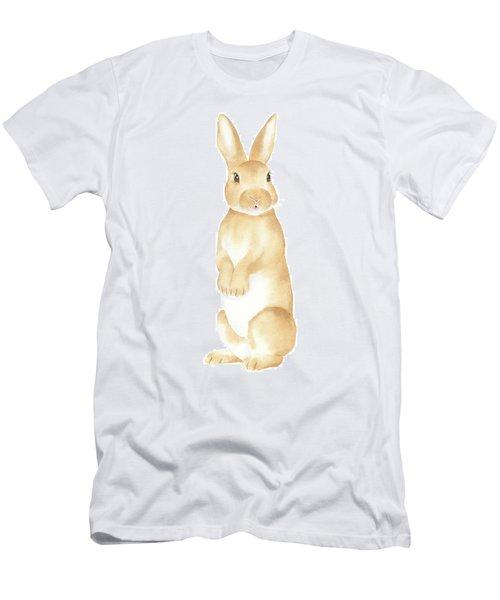 Men's T-Shirt (Slim Fit) featuring the painting Rabbit Watercolor by Taylan Apukovska