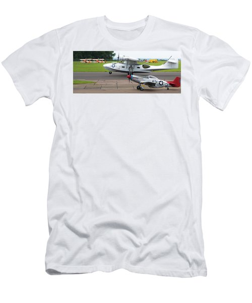 Raf Scampton 2017 - P-51 Mustang With Pby-5a Landing Men's T-Shirt (Athletic Fit)