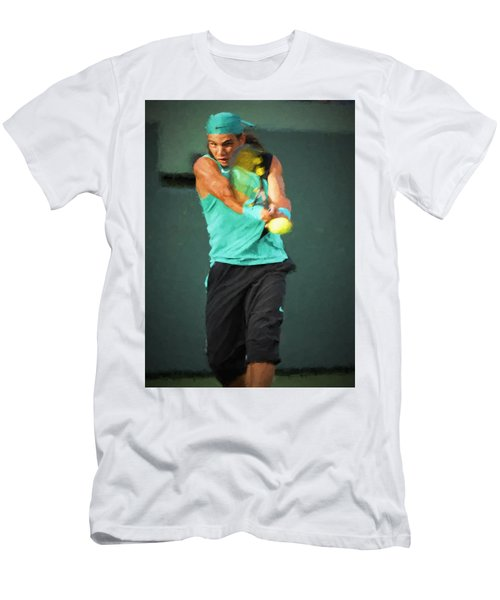 Men's T-Shirt (Athletic Fit) featuring the painting Rafael Nadal by Lou Novick