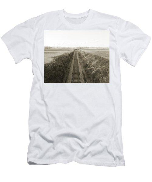 Railroad Cut, West Of Gettysburg Men's T-Shirt (Slim Fit) by Jan W Faul