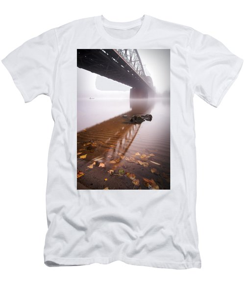 Railway Bridge During Foggy Morning In Prague, Czech Republic Men's T-Shirt (Athletic Fit)