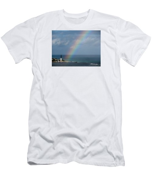 Rainbow At Lighthouse Men's T-Shirt (Athletic Fit)