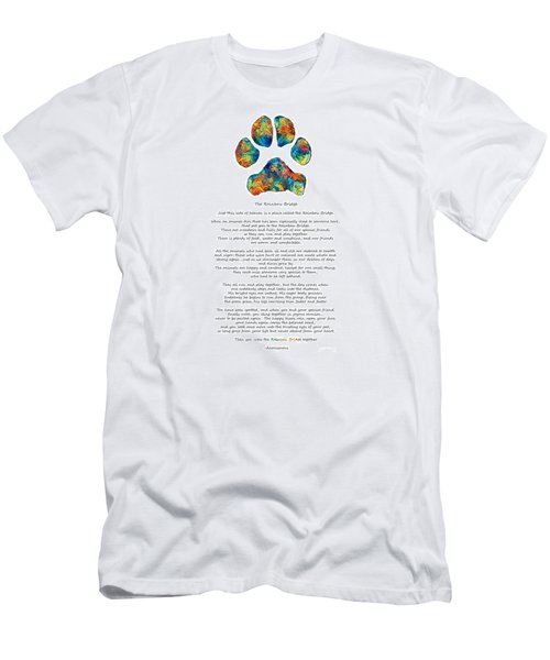 Rainbow Bridge Poem With Colorful Paw Print By Sharon Cummings Men's T-Shirt (Athletic Fit)