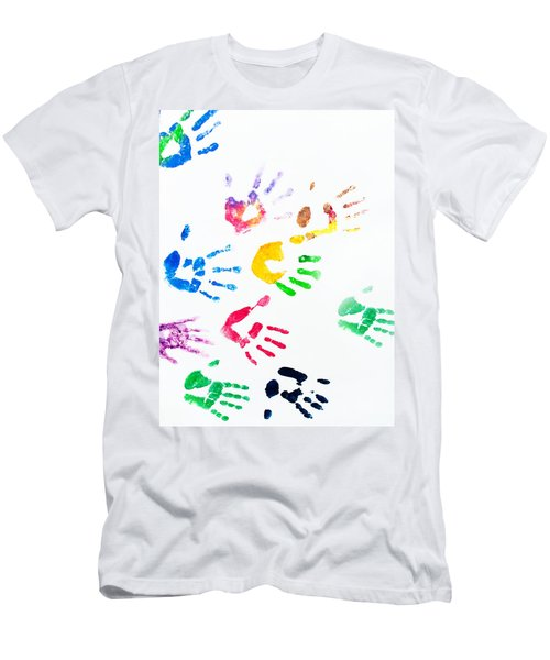 Men's T-Shirt (Slim Fit) featuring the photograph Rainbow Color Arms Prints by Jenny Rainbow