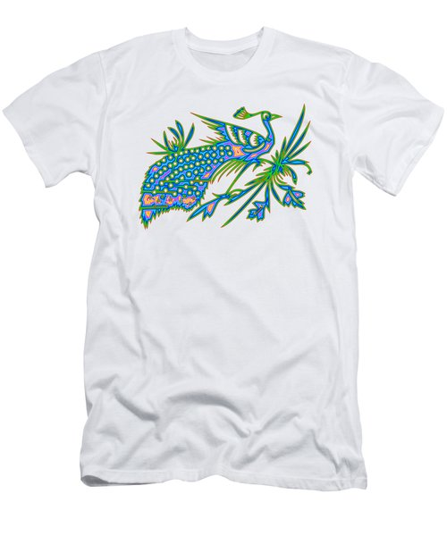 Rainbow Multicolored Peacock On A Branch Men's T-Shirt (Athletic Fit)