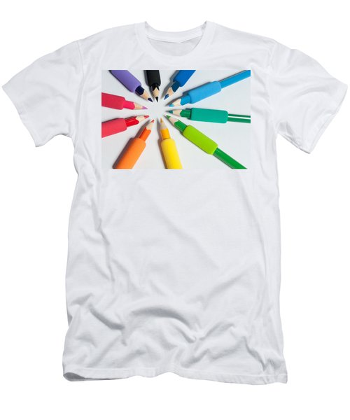 Rainbow Of Crayons Men's T-Shirt (Athletic Fit)