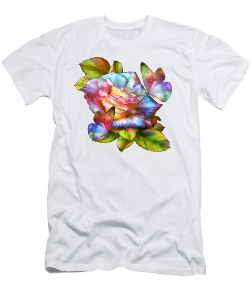 Rainbow Rose And Butterflies Men's T-Shirt (Slim Fit) by Carol Cavalaris