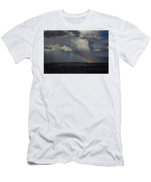 Men's T-Shirt (Slim Fit) featuring the photograph Rainbow Storm Over The Verde Valley Arizona by Ron Chilston