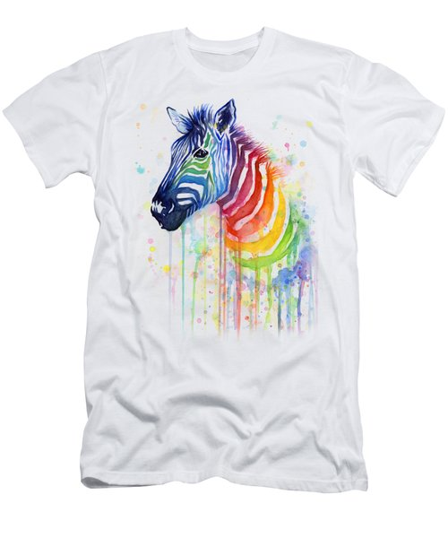 Rainbow Zebra - Ode To Fruit Stripes Men's T-Shirt (Slim Fit) by Olga Shvartsur