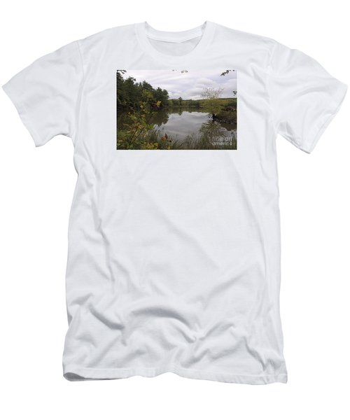 Men's T-Shirt (Slim Fit) featuring the photograph Rainy Day Reflections by Sandra Updyke