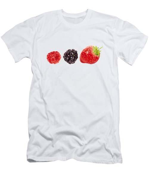 Raspberry, Blackberry And Strawberry In Watercolor Men's T-Shirt (Slim Fit) by Kathleen Skinner