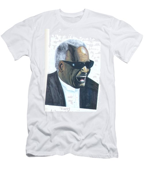 Men's T-Shirt (Slim Fit) featuring the painting Ray Charles by Emmanuel Baliyanga
