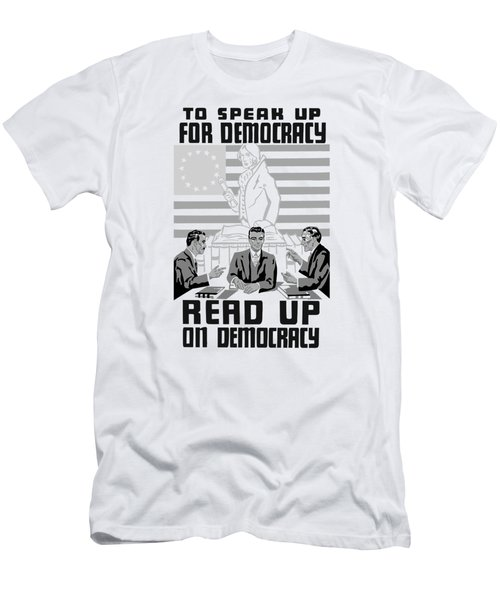 Read Up On Democracy - Vintage Wpa Men's T-Shirt (Athletic Fit)