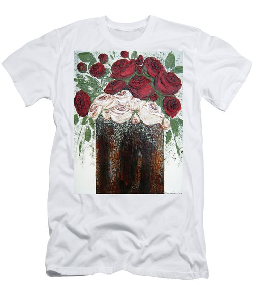 Red And Antique White Roses - Original Artwork Men's T-Shirt (Athletic Fit)
