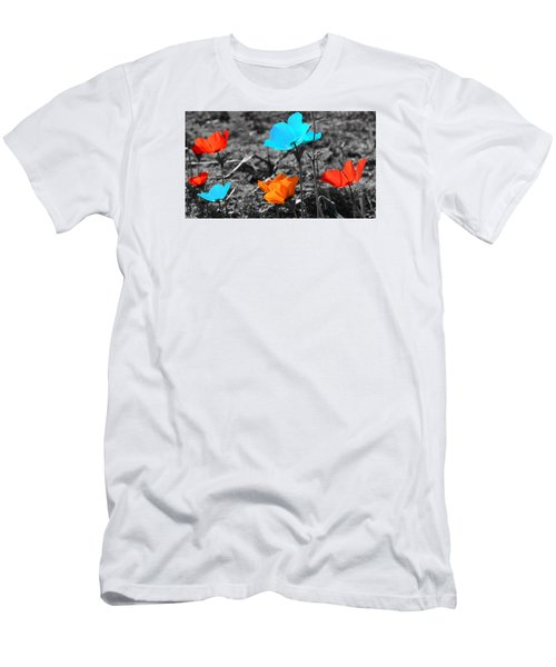 Red And Blue Flowers On Gray Background Men's T-Shirt (Athletic Fit)