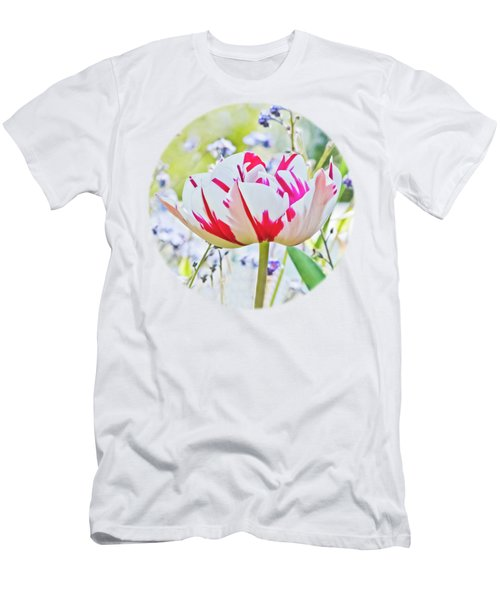 Red And White Tulip Men's T-Shirt (Slim Fit) by Terri Waters