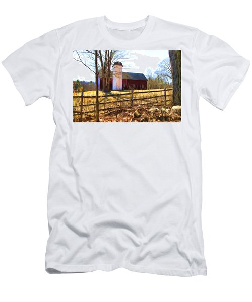 Red Barn And Silo  Men's T-Shirt (Athletic Fit)