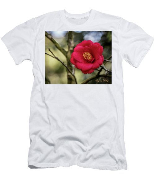 Men's T-Shirt (Slim Fit) featuring the photograph Red Camelia 05 by Gregory Daley  PPSA